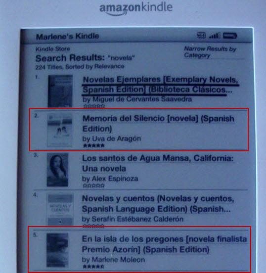 Los dos libros publicados por Eriginal Books en buen posicionamiento dentro del la tienda Kindle de Amazon