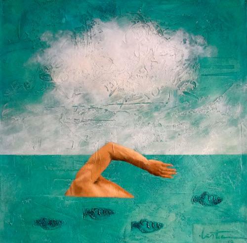 """""""Contra la corriente"""" pintura de Sergio Lastres"""