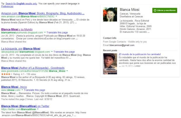 Blanca Miosi ha asumido de manera activa la labor promocional del autor independiente. Ahora empieza a moverse en Google +.