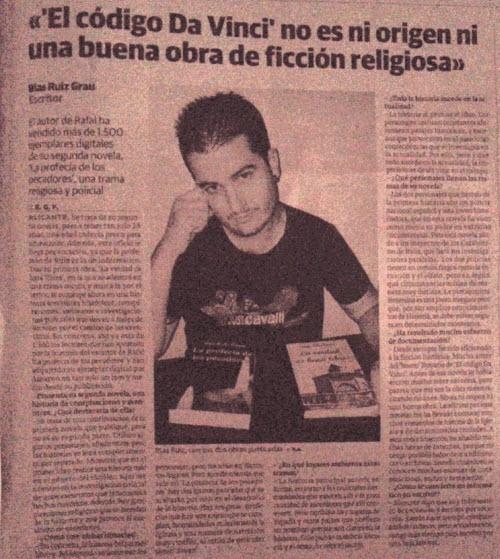 """El escritor Blas Ruiz Grau entrevistado por el periódico """"La verdad""""."""