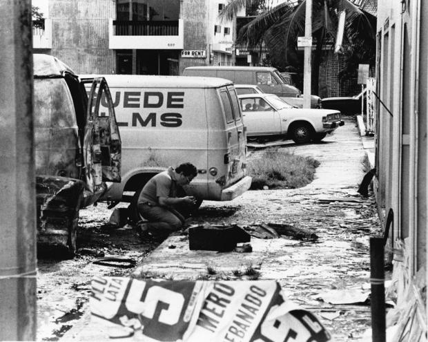 Vista de los destrozos causados por la bomba que estalló en Guede Films de Puerto Rico el 2 de septiembre de 1979