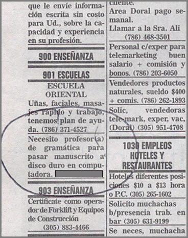 """Anuncio del Escritor Taxista en el Diario Las Americas: """"Necesito profesor de gramatica para pasar manuscrito a disco duro en computadora""""."""