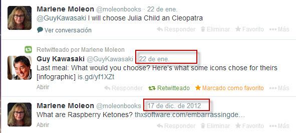 """El 22 de enero empecé una campaña en Twitter respondiendo a Guy Kawasawi que me gustaría para mi última cena: Julia Child (sopa francesa de cebolla) y Cleopatra (higos). Desde el 17 de diciembre del 2012 no """"twiteaba""""."""
