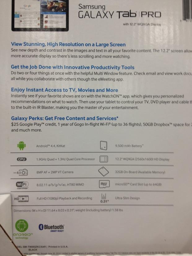 Muchas de las tabletas con sistema Androide vienen con promoción para Google Play. Por ejemplo esta Galaxy Pro  viene con un crédito de $25 para Google play, 1 año gratis para Gogo in-flight, un sistema paa tener acceso a internet en los vuelos aéreos, y 50 GB en Dropbox.