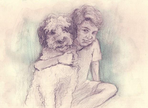 """Ilustración de la primera portada de """"Bobo"""". Se refleja el amor incondicional entre un perro y un ser humano"""