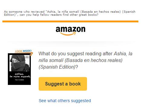 Invitación de la comunidad de Amazon a sugerir un libro