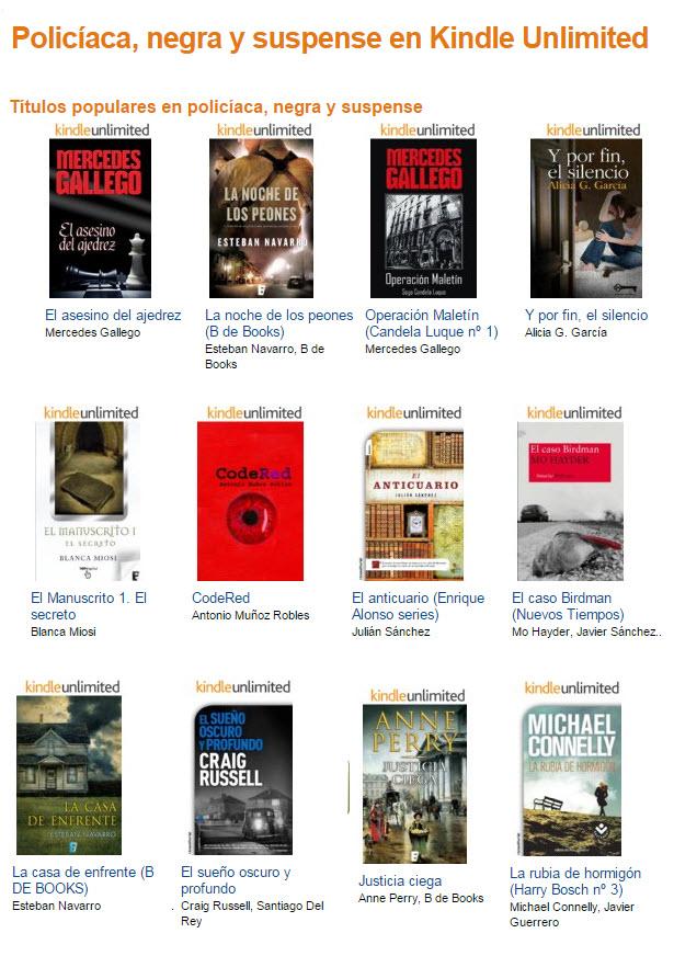 Ejemplos de títulos en Kindle Unlimited en el género policiaco