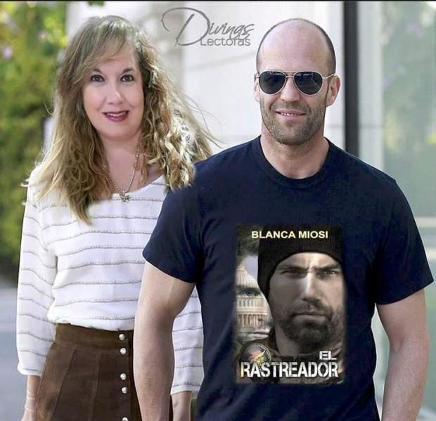 Cecilia Pérez en un fotomontaje de promoción para la novela El rastreador de Blanca Miosi
