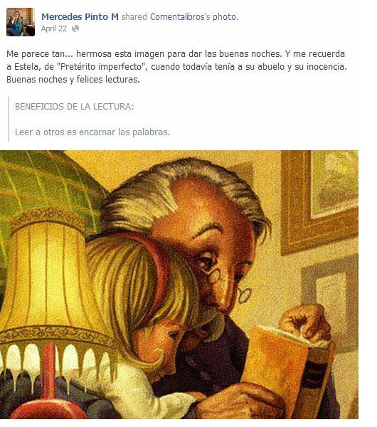 En este post en la página de Facebook, Mercedes Pinto menciona su novela Pretérito imperfecto de una manera indirecta, ni siquiera deja el enlace.