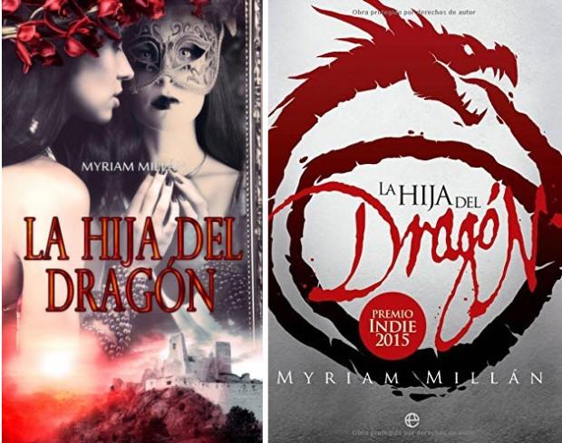 A la izquierda, la portada de La hija del Dragón durante el concurso. A la derecha la portada de la nueva edicion por Esfera de los Libros