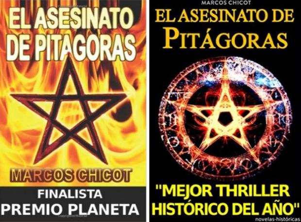 A la izquierda la primera portada de EL ASESINATO DE PITAGORAS