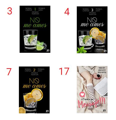 La trilogía No me ames y la novela Tienes un mensaje en la lista de los Top 20 de Amazon
